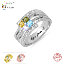 StrollGirl 925 Silver Personalized Square Cubic Zirconia Rings Engraved Family Name&Birthstone Ring Custom Special Gift For Her personalized birthstone engraved name ring gold color family stackable ring for mother