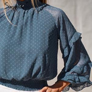 Image 2 - Simplee polka dot print blusa feminina camisa babados manga longa feminino para camisas de cintura alta elástica senhoras blusa camisas feminina