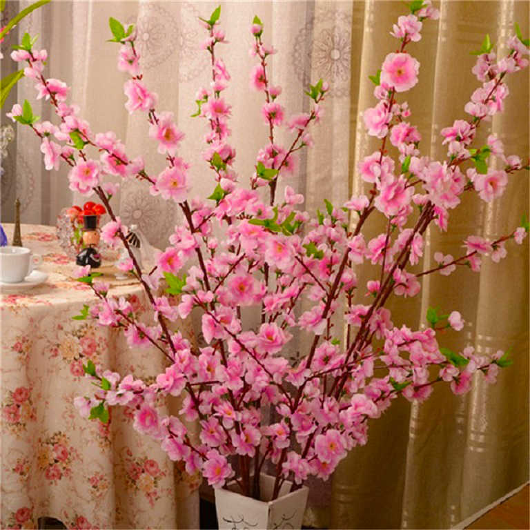 1pcs 65cm Kunstmatige Cherry Lente Pruim Perzik Bloesem Tak Silk Flower Tree Home Party Bruiloft Decor Nep Bloemen