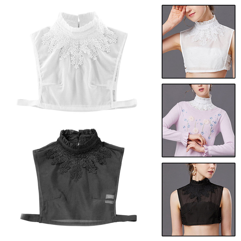 1pc Women Girls Polyester Fake Collar Detachable Collars Solid Lapel Necklace Shirt Sweater Blouse Decoration Blouse Accessories