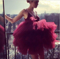Formal Party Dresses Modest Burgundy Short Cocktail Dreses Homecoming Gowns With Spaghetti Straps Tiered Skirt Cheap