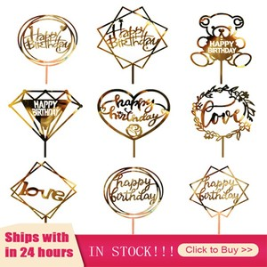 1pc Gold Acrylic Hand Writing Happy Birthday Cake Topper Dessert Tamping Party Cake Decorating Tools For Birthday Party Gifts