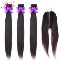Ms Love 2x6 Closure And Bundles Peruvian Hair With Straight Kim K Human Non Remy