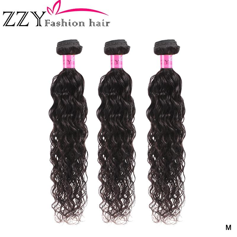 ZZY Fashion Nature Wave Hair 3 Bundles Brazilian Hair Bundles Human Hair Weave Bundles Natural Color Non-remy Hair Extension