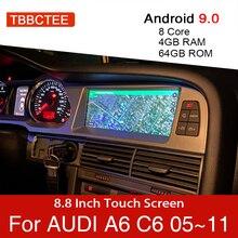 Автомобильный мультимедийный плеер, Android 9,0, 4 + 64 ГБ, для Audi A6 C6 4f 2005 ~ 2011 MMI 2G 3G, GPS навигация, навигация, стерео, сенсорный монитор