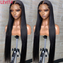 Wig Human-Hair Lace-Front LEVITA Pre-Pluck Straight Women Brazilian 32inch 30 for 4x4