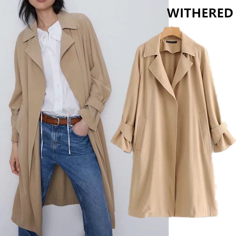 Withered 2019 winter long   trench   coat women england vintage solid khaki notched loose casaco feminino long coat women plus size