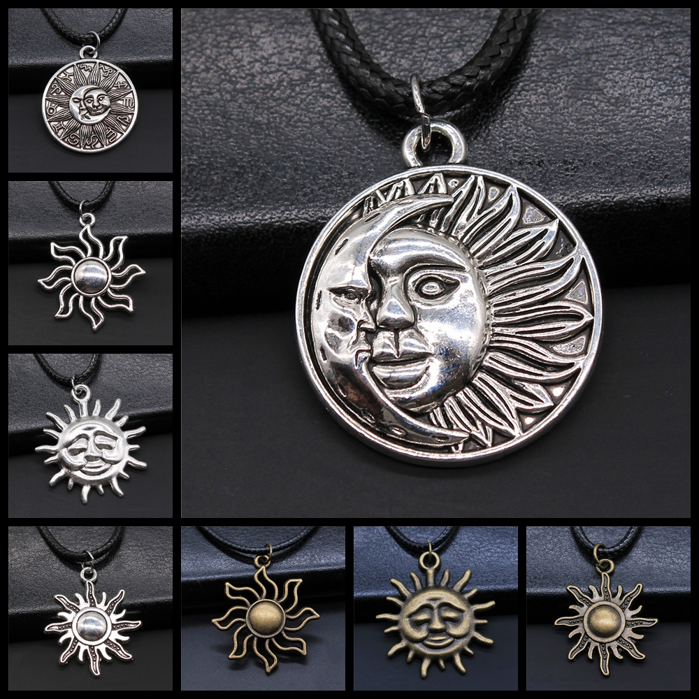 2 Colors Sun And Moon Totem Pendant Black Leather Chain Necklace Sun And Moon Amulet Necklaces For Women