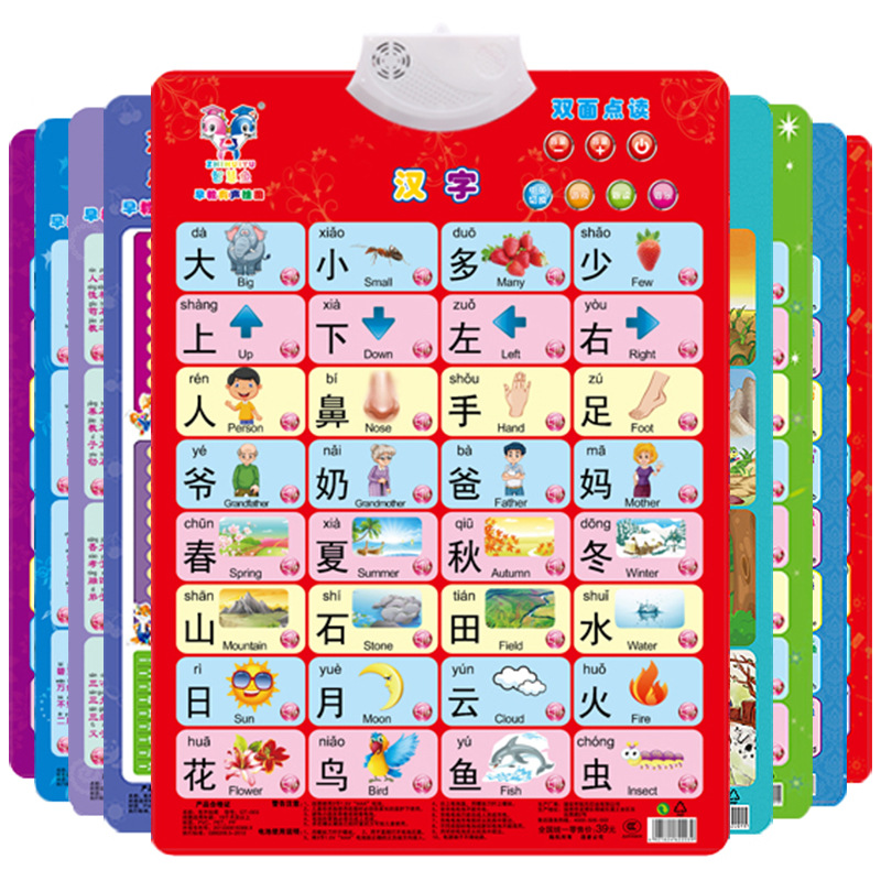 Double-Sided Point Reading Audio Chart Children Early Education Electronic Sound Making Hanging Painting Baby Reading Counting