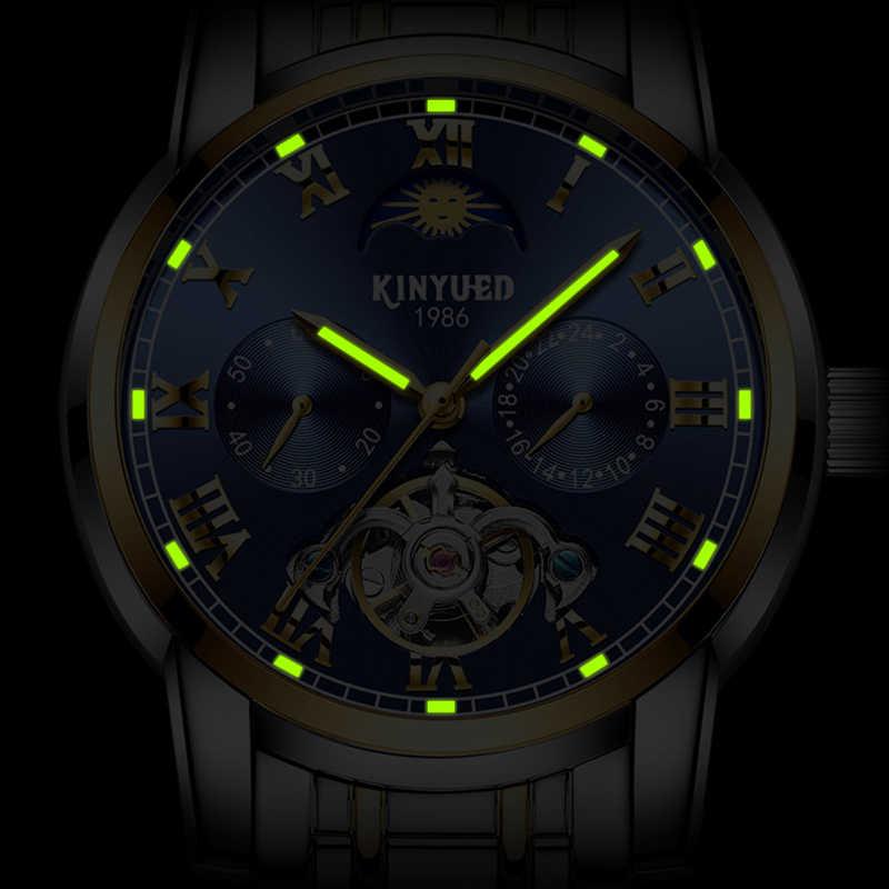 KINYUED Роскошные автоматические часы календаря для мужчин Moon Phase Tourbillon светящиеся механические часы хронограф часы из нержавеющей стали