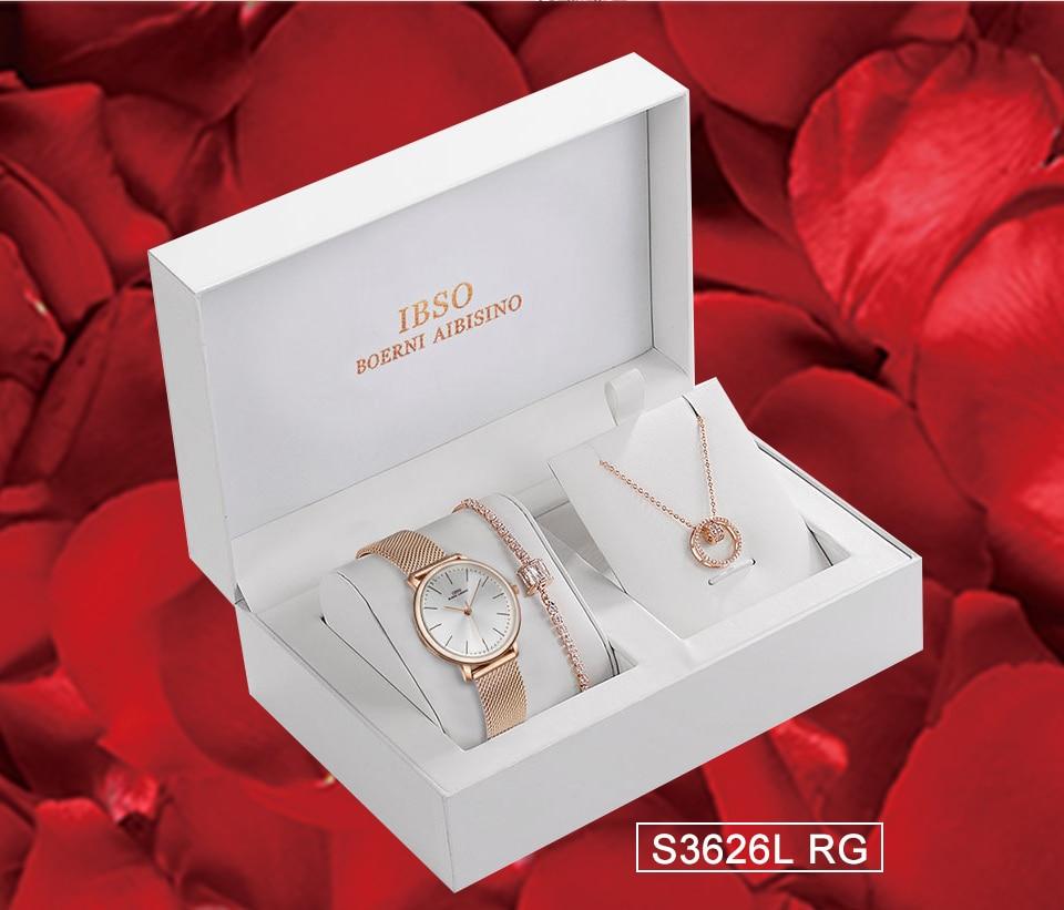 Ensemble bijoux Femme montre cristal Design Bracelet collier 16