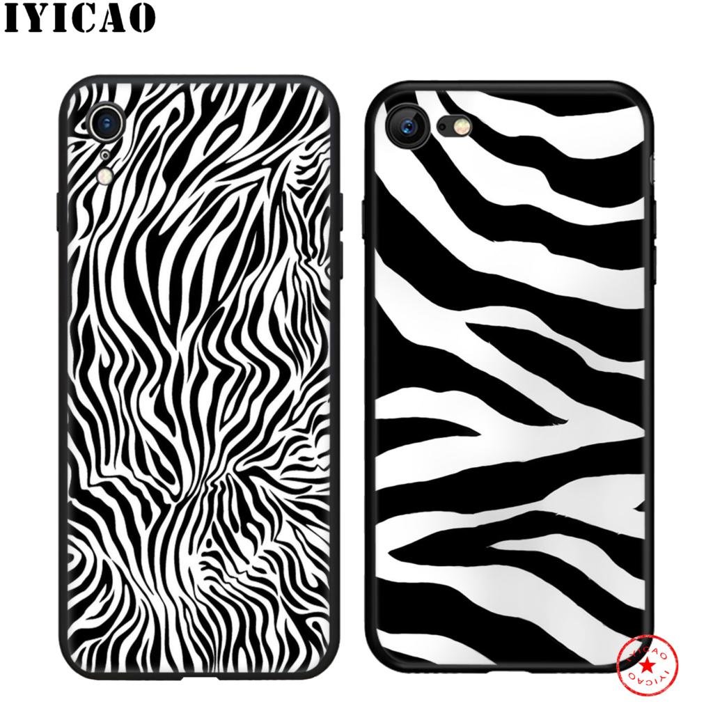 IYICAO zebra stripe Design Soft Black Silicone Case for iPhone 11 Pro Xr Xs Max X or 10 8 7 6 6S Plus 5 5S SE in Fitted Cases from Cellphones Telecommunications