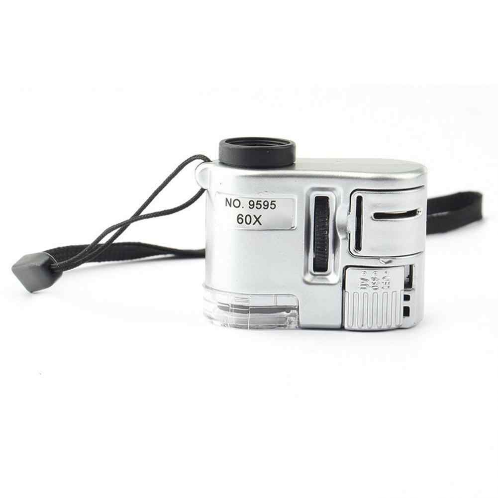 ミニレンズ 60X ポケット拡大鏡顕微鏡 LED 紫外線ライトジュエリー教育フォーカス調整可能なルーペ通貨検出器