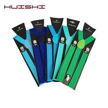 HUISHI Suspenders Bow Tie Set Men Solid Color Man's Belt Men Women Suspenders Adult Polyester Y-Back Braces Adjustable Elastic