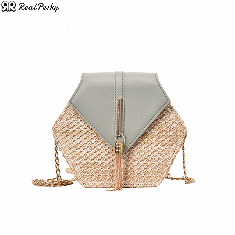 Hexagon Tassel Chain Women Shoulder Messenger Bags Female Solid Color Beach Bags Handbags Ladies Handmade Woven New Straw Bags