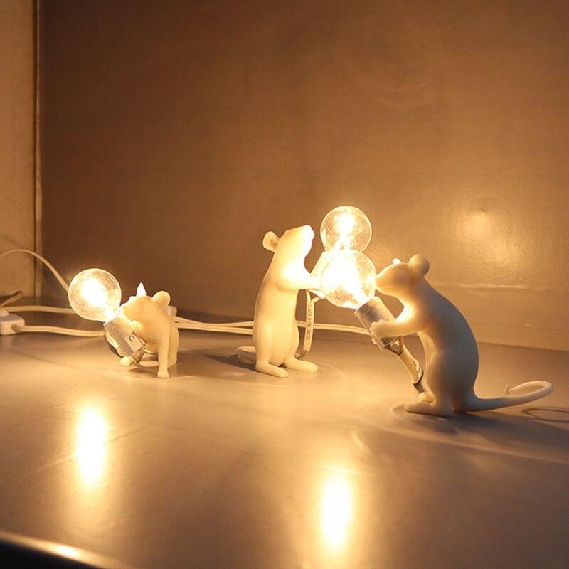 2019 Table Lamp Mouse Shape Resin Desk Light Bedside Lamp Light Home Room Decor P666
