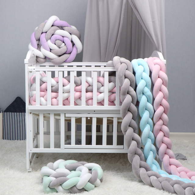 QWZ 1M/2M/3M Baby Bumper Bed Braid Knot Pillow Cushion Bumper for Infant Bebe Crib Protector Cot Bumper Room Decor | Happy Baby Mama