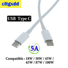 cltgxdd USB C to USB Type C Cable Male to male 5A PD Fast Charging Data Charger Cable for MacBook Pro for Samsung , 65W 87W 100W стоимость