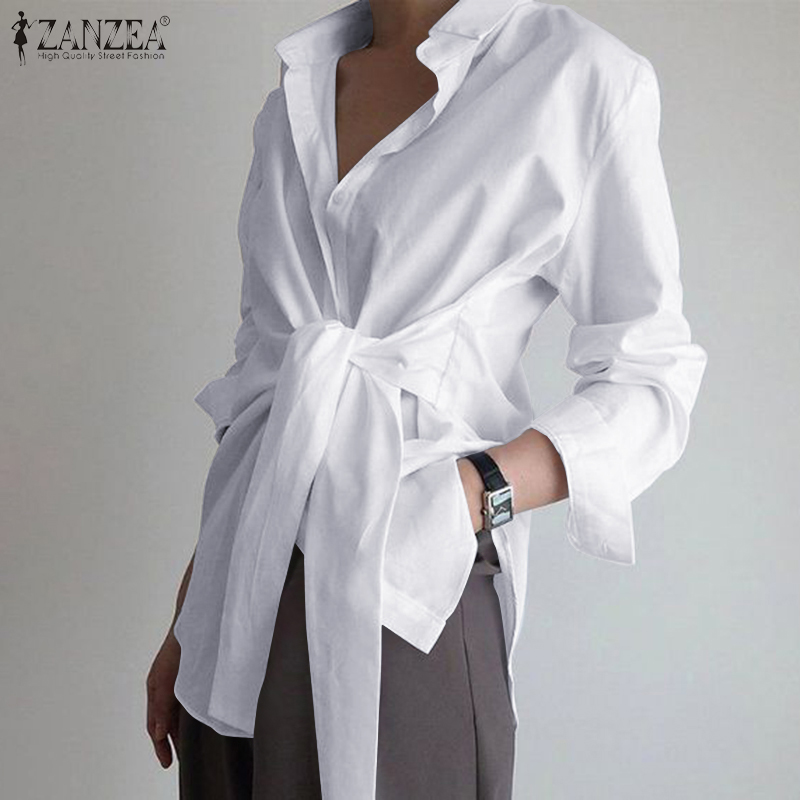 ZANZEA Shirts Blouse Tops Spring Lace-Up Asymmetric Long-Sleeve Neck OL Elegant Fashion