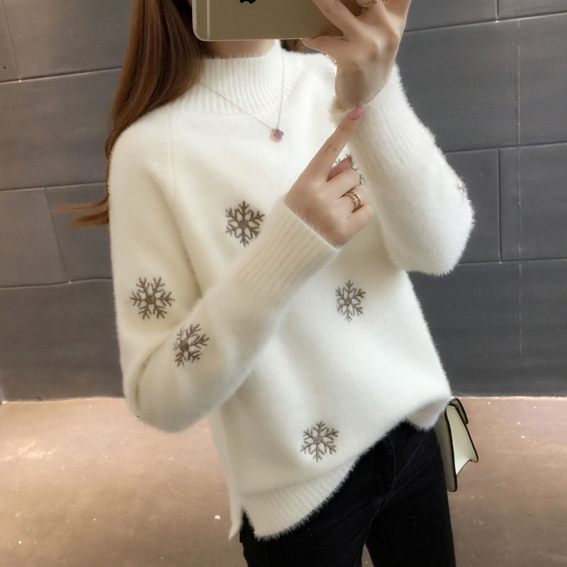 Women Warm Pullover Sweater Winter High Quality Soft Mohair Snowflak Pattern Top  Autumn Casual Velvet Thick Knitted Sweater 3XL