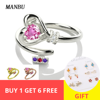 MANBU Personalized 925 sterling silver heart with birthstone rings custom silver rings for women engagement gifts free shipping