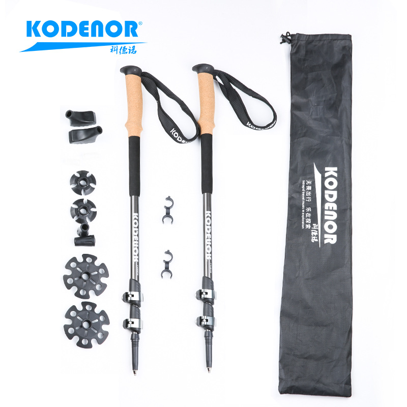 Section Denau Outdoor KDN-003 Carbon Fiber Wand Extendable Three-section External Lock Folding Walking Stick Alpenstock