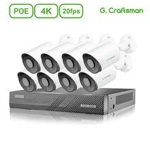 4K POE IP Camera System Kits 2 4 6 8ch CCTV Security Sony IMAX415 20fps H.265 NVR Audio Surveillance Cameras G.Craftsman