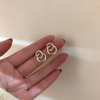 2020 Korean Simple Double Circle Gold Color Metal Rhinestone Drop Earrings For Women Fashion Small Pendientes Jewelry Gifts 1