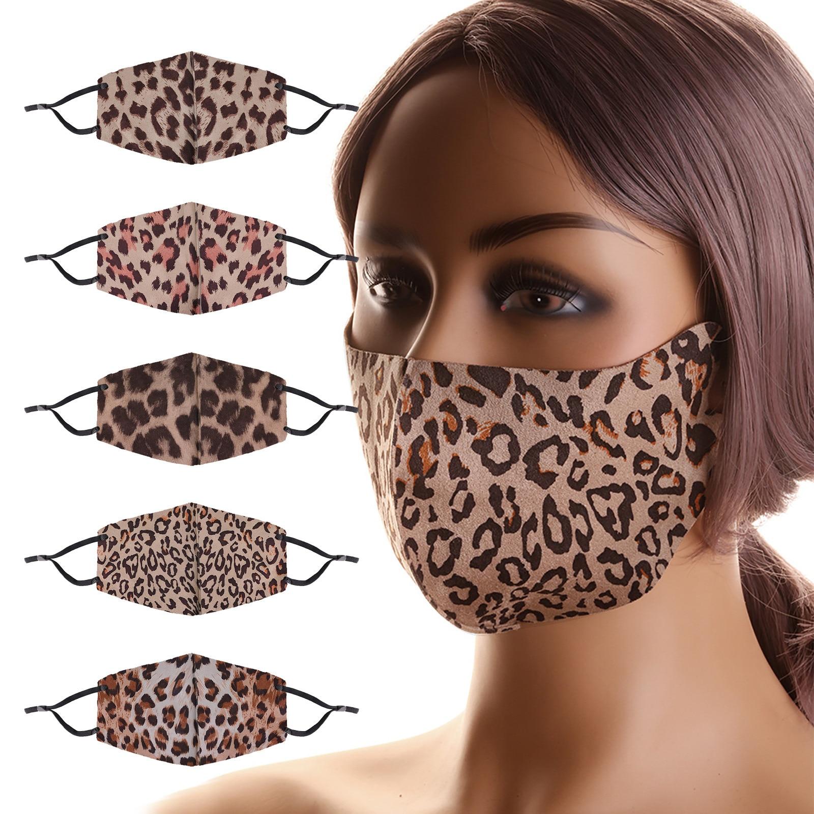 Тканевая маска леопардовая многоразовая маска для рта моющаяся хлопковая маска для лица Защитная маска для взрослых мужчин женщин шапки дл...