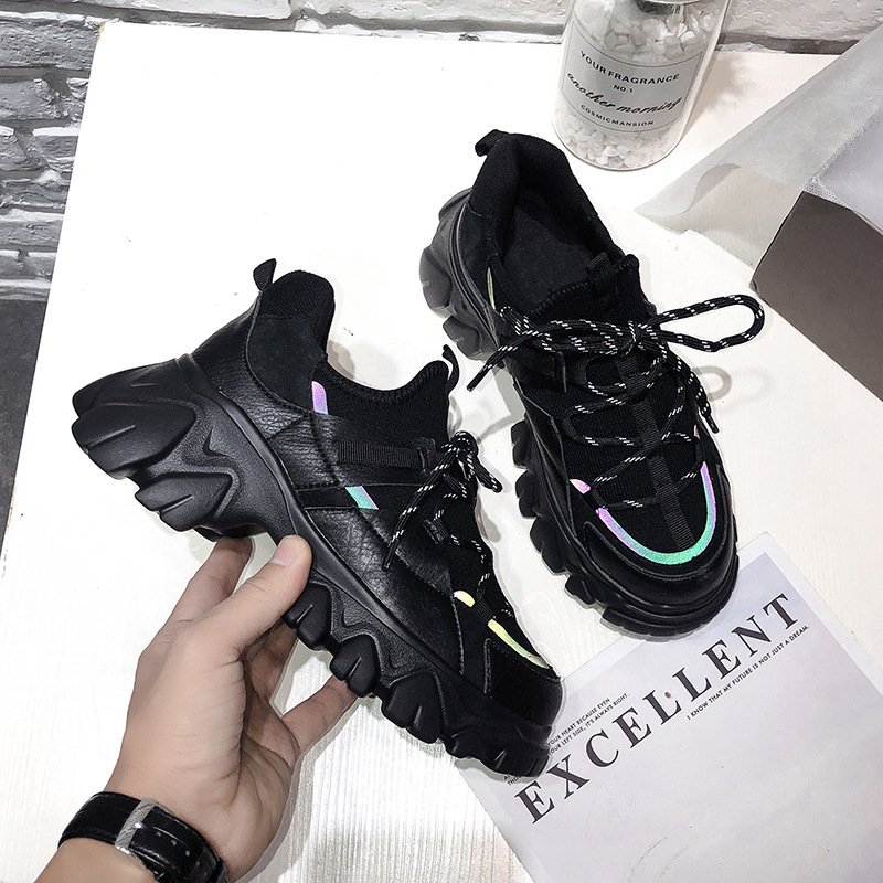 2020 Spring New Shoes Women Platform Sneakers Fashion Brand Ladies Chunky Footware Female Zapatos De Mujer Girls Black Trainers