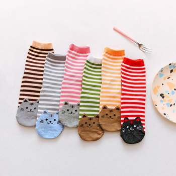 Fashion Cartoon Socks Women Cat Footprints 3D Animals Style Striped Warm Cotton Lady Floor meias for Female
