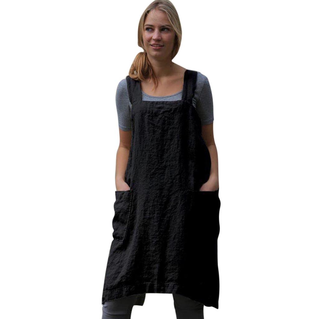 Dresses For Women Cotton Linen Pinafore Square Cross Apron Garden Work Pinafore Dress