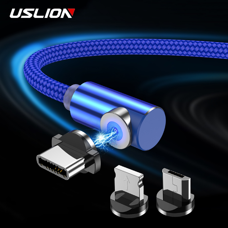 USLION 90 Degree Fast Magnetic USB Charging Cable Micro USB Type C For iPhone 11 Samsung S8 Xiaomi Huawei Android Phone Cable 2m|Mobile Phone Cables|   - AliExpress