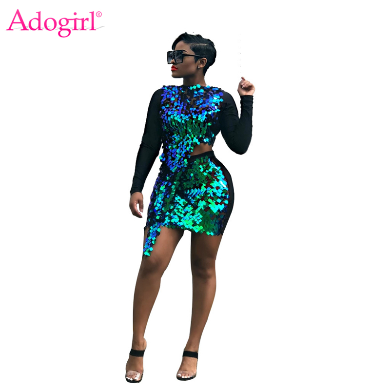 Adogirl Shiny Sequins Patchwork Two Piece Set Dress O Neck Long Sleeve Asymmetrical Top Bodycon Mini Skirt Women Night Club Suit