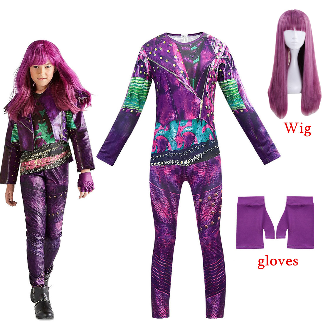 New Hot Selling Descendants 3 Evie Anime Cosplay Costume Jumpsuits Halloween Carnival Costume For Kids