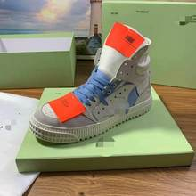 2021 new high-top sneakers unisex white shoes couple same style sneakers orange patch ladies casual shoes OFF White