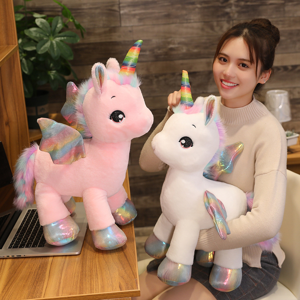ins hot soft cute unicorn dream rainbow plush toy high quality pink horse sweet girl home decor sleeping pillow gift for kids