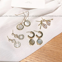 Korean geometric shell ear hook concise fashion  small earrings  jewelry christmas gifts for women  pearl earrings недорого