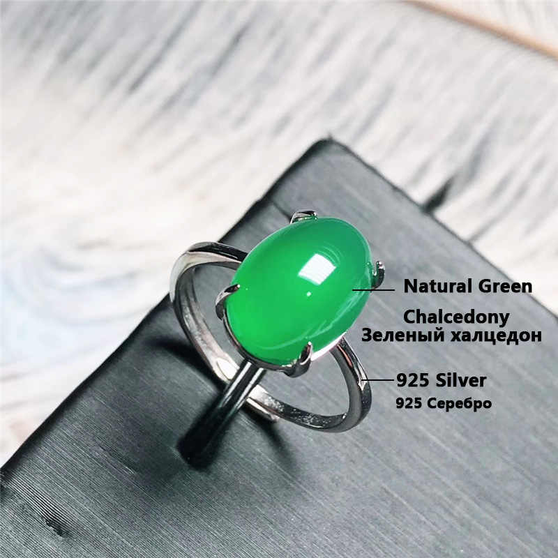 Jadery Charms เงิน 925 แหวนธรรมชาติสีเขียว Chalcedony หยกแหวนอัญมณีเครื่องประดับ Fine 2019 Black Friday ใหม่