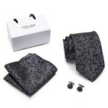 New Design Silk Jacquard Woven Men Tie Fashion Plaid Striped Floral Necktie Handkerchief  Cufflinks Set for Party Wedding