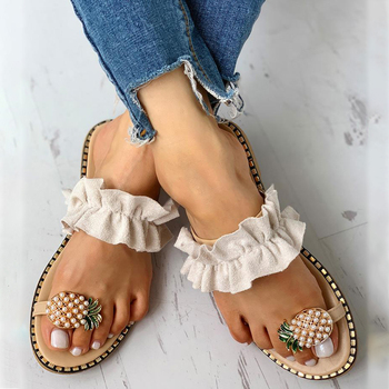 Pantofel damski ananas perła płaskie Toe czeski Casual owoce plażowe sandały damskie buty sandały na platformie De Mujer 2020 tanie i dobre opinie MoneRffi CN (pochodzenie) Podstawowe Mieszkanie z Otwarta RUBBER Niska (1 cm-3 cm) Na co dzień Slip-on Pasuje prawda na wymiar weź swój normalny rozmiar