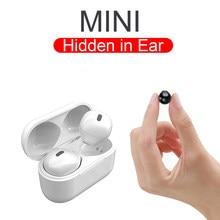 Fones de ouvido TWS Invisible Bluetooth Fone de ouvido sem fio Fone de ouvido oculto para dormir Fone de ouvido impermeável tipo C Mini fone de ouvido intra-auricular com microfone para orelhas pequenas