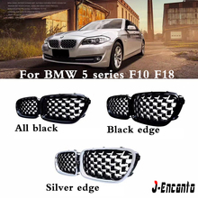 A Pair For BMW 5 Series F10 F11 F18 Car Front Grill Newest Diamond Style 2010-2016 Mesh