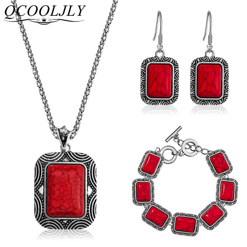 QCOOLJLY Trendy Tibetan Silver Color 3pcs Jewelry Set Women Natrual Stone Pendant Long Necklace Bracelet Earrings Wedding Gift
