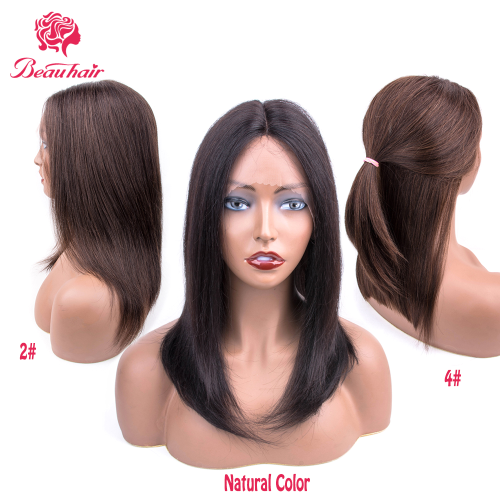 2# 4# Natural Color Straight Human Hair Wigs Pre-Colored Bob Wig Malaysian 100% Human Hair Remy Free Middle Part BeauHair