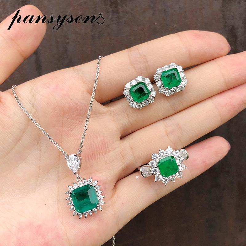 PANSYSEN luxury Green emerald diamond Necklace/Earrings/Ring jewelry set for women solid 925 sterling silver fine jewelry sets