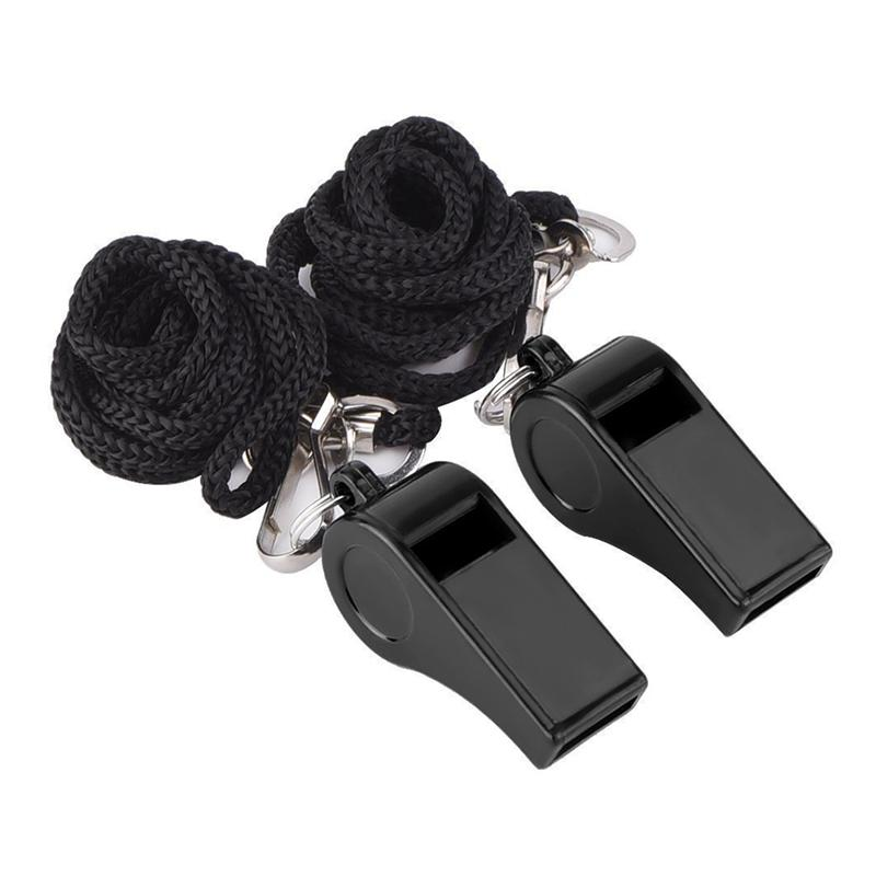 2pcs Black Whistles Plastic Football Sports Training Whistles With Lanyard Cheerleading & Souvenirs (Black)
