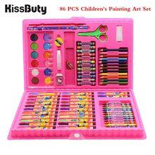 86pcs / Set Drawing Art Kits Children's Watercolor Pen Pencil Oil Pastel Crayon Powder Eraser Palette Brush Stationery
