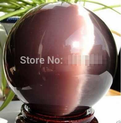 YM 326 حار بيع ASIAN الكوارتز الأرجواني القط العين الكريستال الكرة المجال 100 مللي متر + حامل