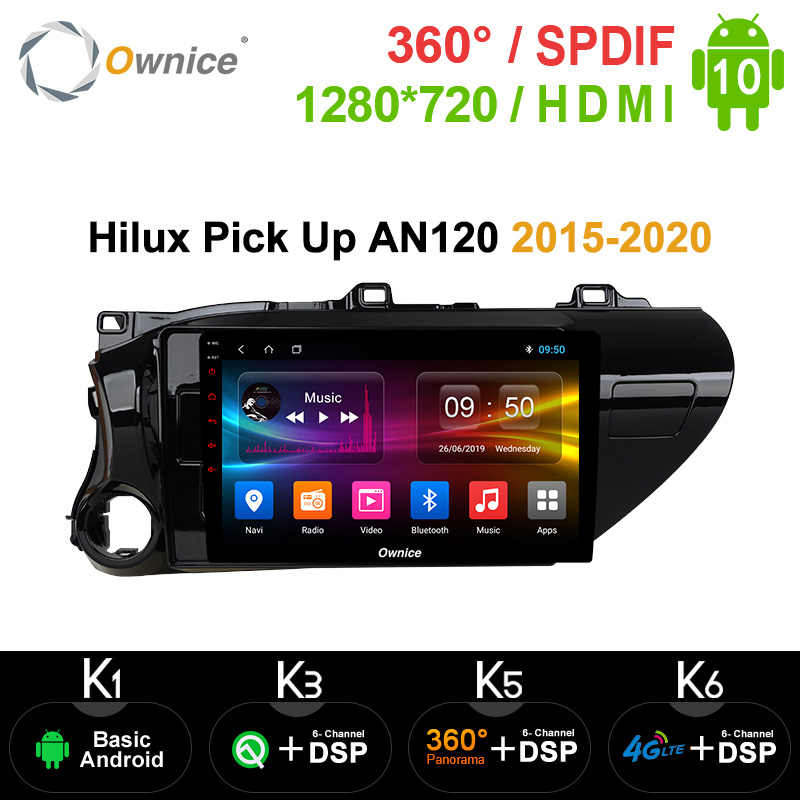 Ownice Android 10.0 Mobil Radio 2din untuk Toyota Hilux Pick Up AN120 2015 - 2020 Auto On-Board Komputer navigasi AUDIO Kepala Unit
